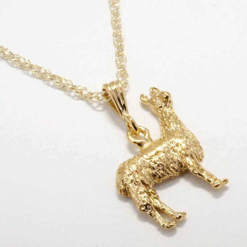 Llama Necklace for her in 14kt Gold Vermeil