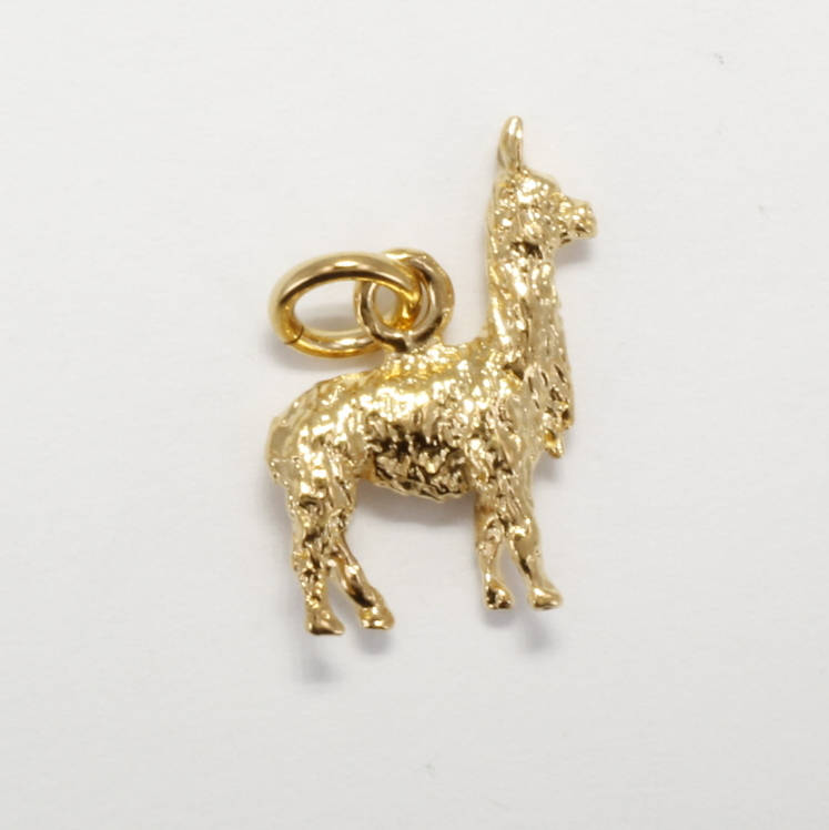 Small Three Dimensional 14kt. gold vermeil Suri Alpaca charm by agrijewelry.com