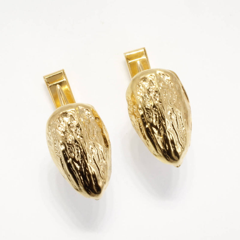 Mans 14kt gold Vermeil Actual size Almond Cuff Links for Almond Grower by Agrijewelry.com