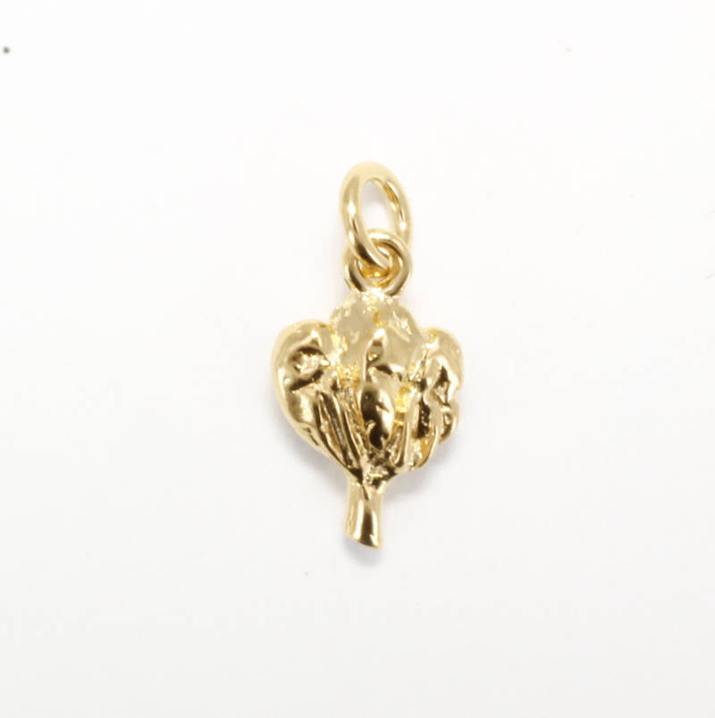 Small 14kt gold vermeil Cotton Boll Charm for her bracelet
