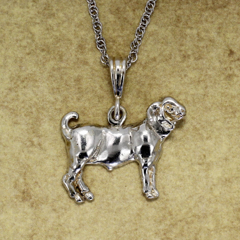 "Goat Jewelry Design of a Champion Boer Goat Necklace on 18"" chain in Sterling Silver"