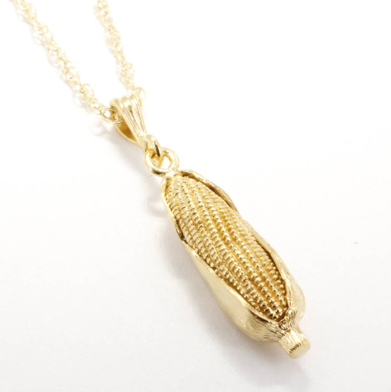 Large Gold Corn Necklace with 14kt Gld Vermeil Ear Of Corn Pendant