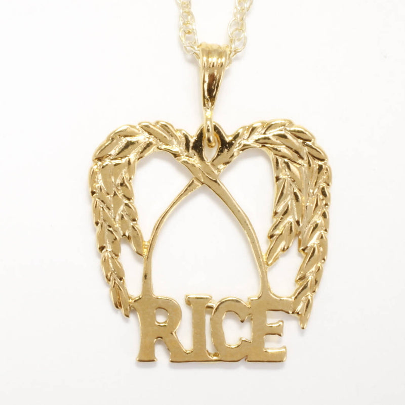Large 14kt gold vermeil rice logo necklace