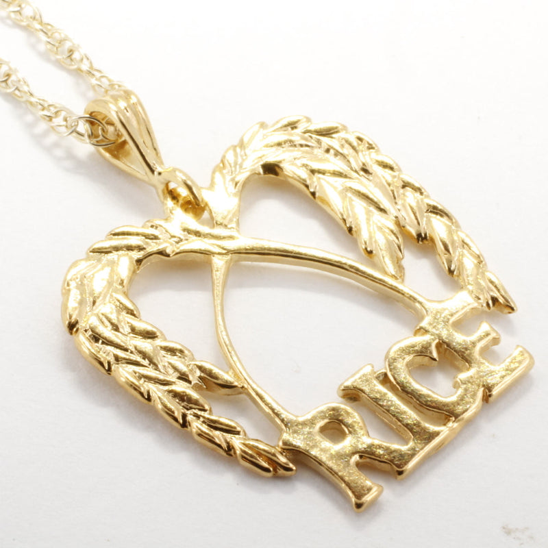 Large Gold Rice Logo Necklace in 14kt gold vermeil for her