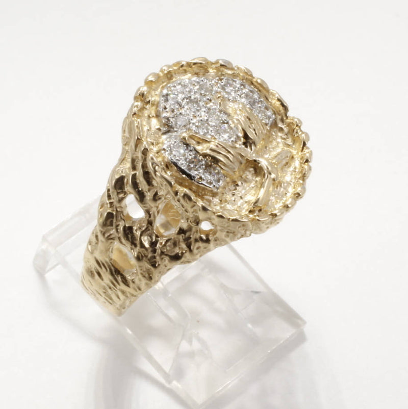 Mans Diamond Cotton Boll Ring