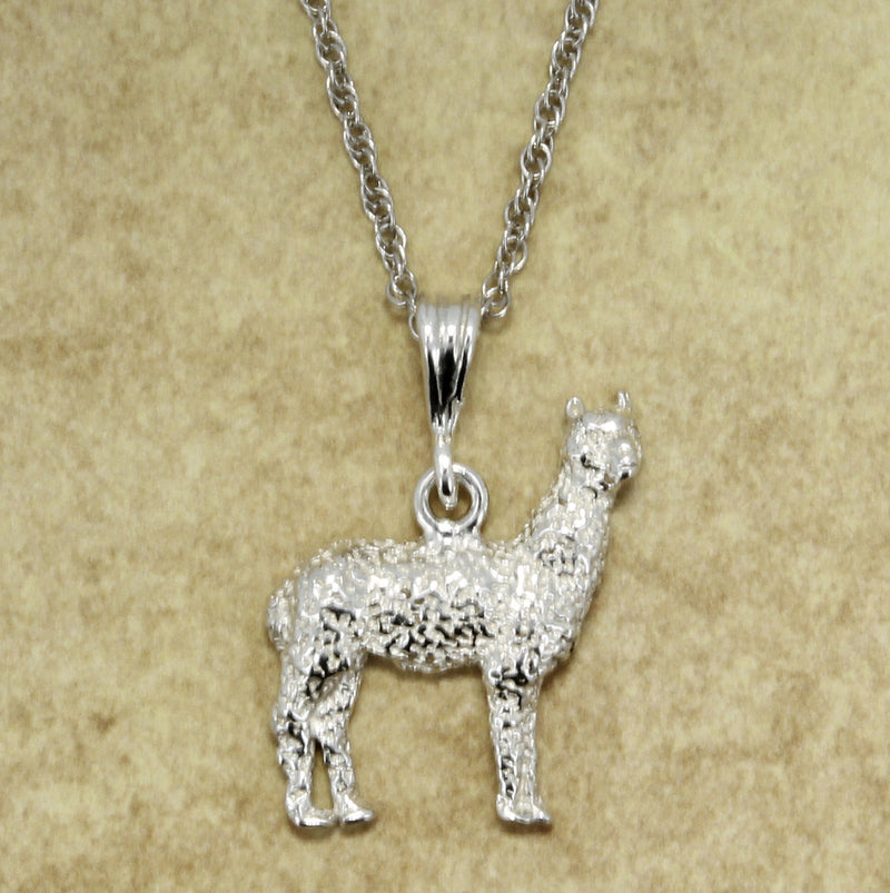 "Alpaca Jewelry Necklace of Large 925 sterling silver Huacaya Alpaca with 18"" silver chain by agrijewelry.com"