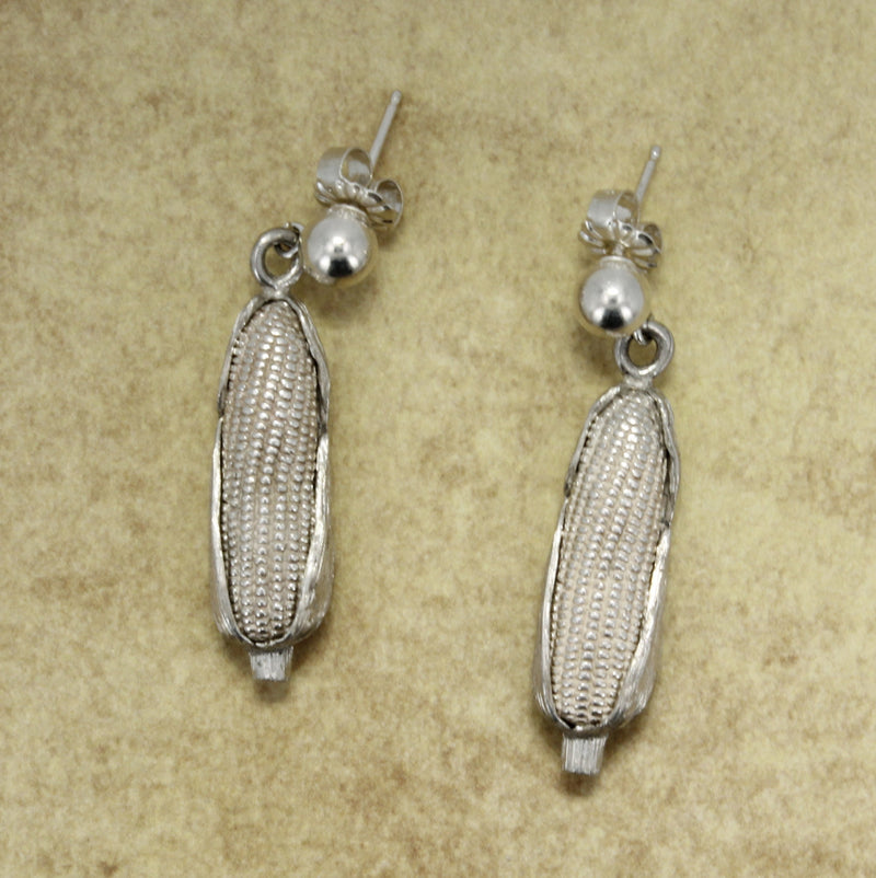 Larger 925 Sterling Silver Corn Cob Earrings with Ball Posts