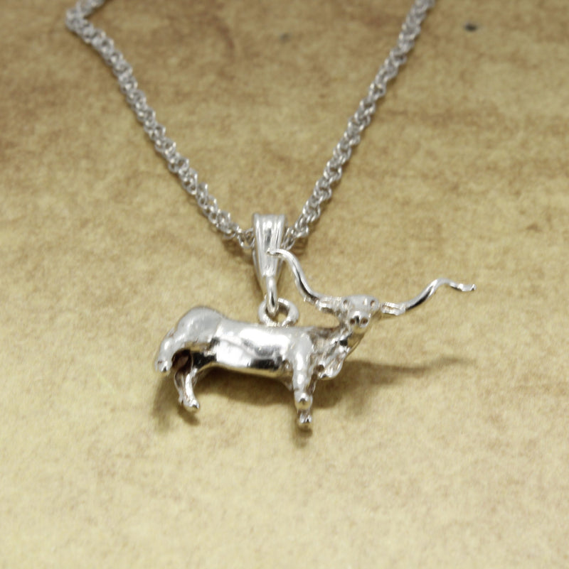 Longhorn Jewelry with a 925 Sterling Silver 3-D Longhorn on a chain