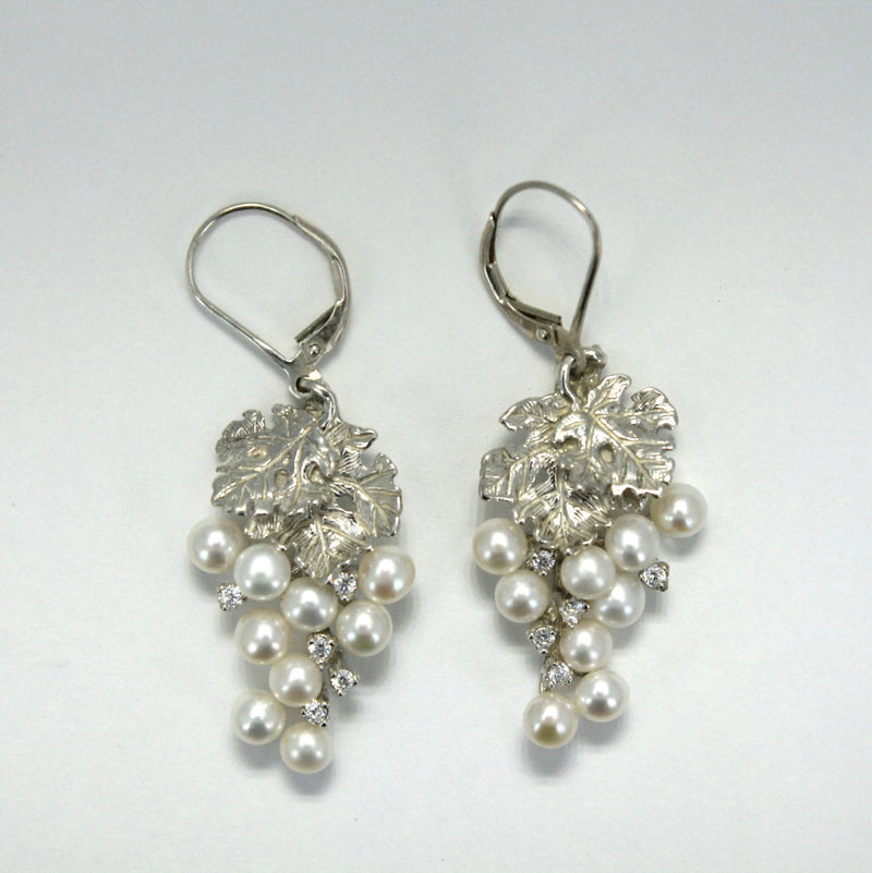 Two Leaf Sterling Silver White Pearl CZ Dangle Grape Cluster Earrings,