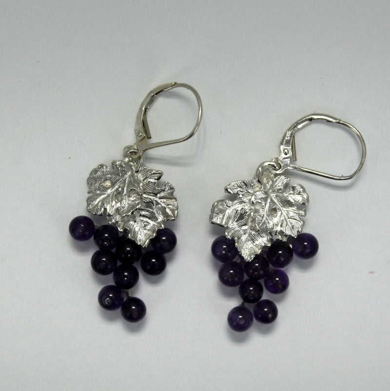 Two Leaf Sterling Silver Amethyst Dangle Grape Cluster Earrings