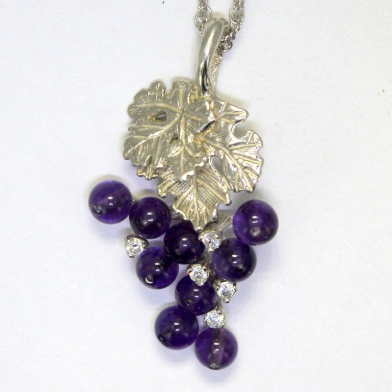 Amethyst Grape Cluster Necklace made in 925 Sterling Silver