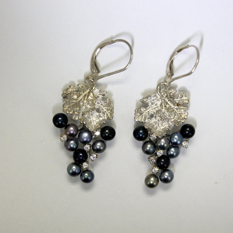 Two Leaf Sterling Silver Black Pearl CZ Dangle Grape Cluster Earrings