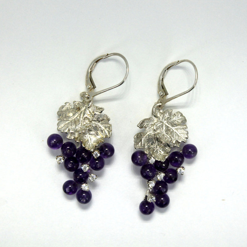 Two Leaf Sterling Silver Amethyst CZ Dangle Grape Cluster Earrings