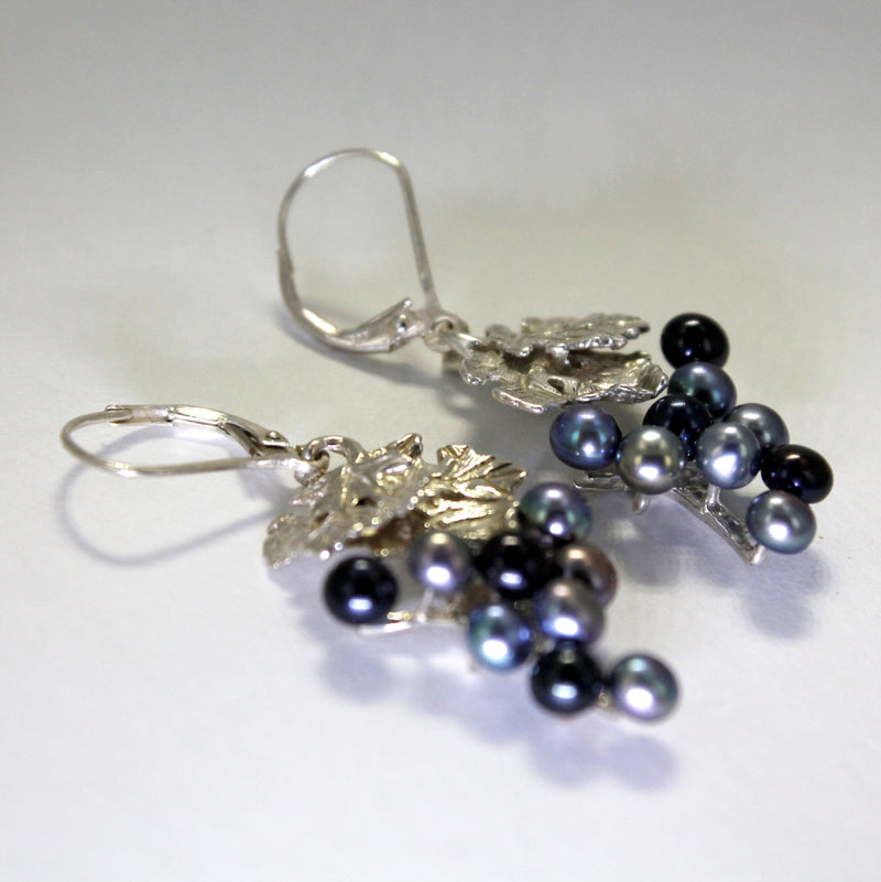 Two Leaf Sterling Silver Black Pearl  Dangle Grape Cluster Earrings