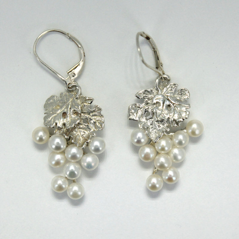 Two Leaf Sterling Silver White Pearl Dangle Grape Cluster Earrings