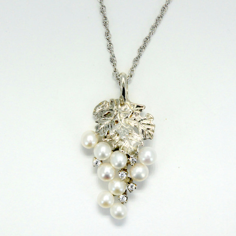 Two Leaf Sterling Silver White Pearl CZ Grape Cluster Necklace