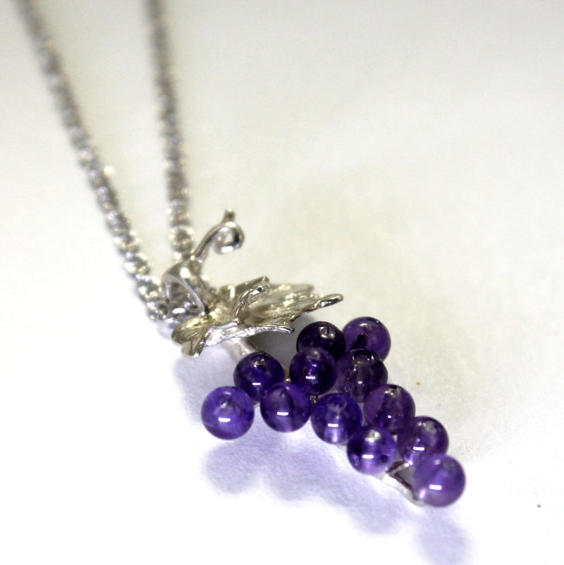 Grape Cluster Necklace with 12 amethyst stones in sterling silver by agrijewelry.com