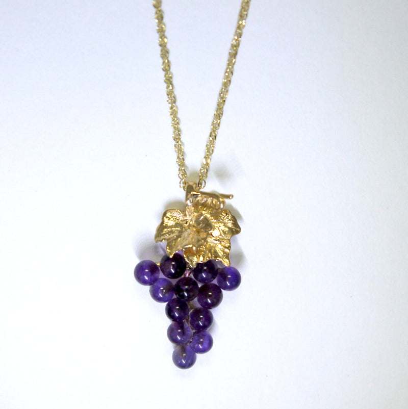 Small Two Leaf 14kt. Gold Amethyst Grape Cluster Necklace