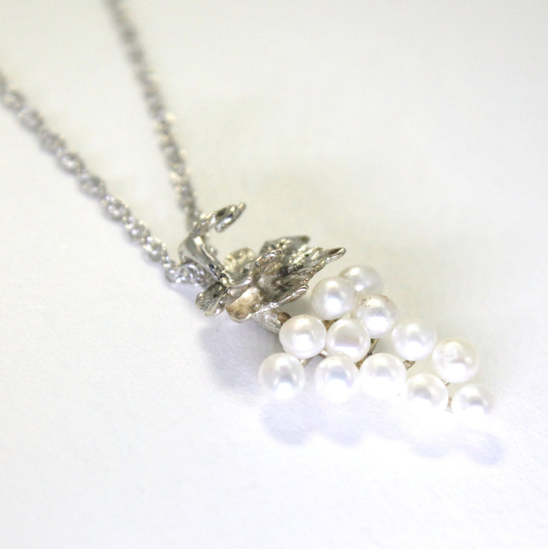 Small Two Leaf Sterling Silver White Pearl Grape Cluster Necklace
