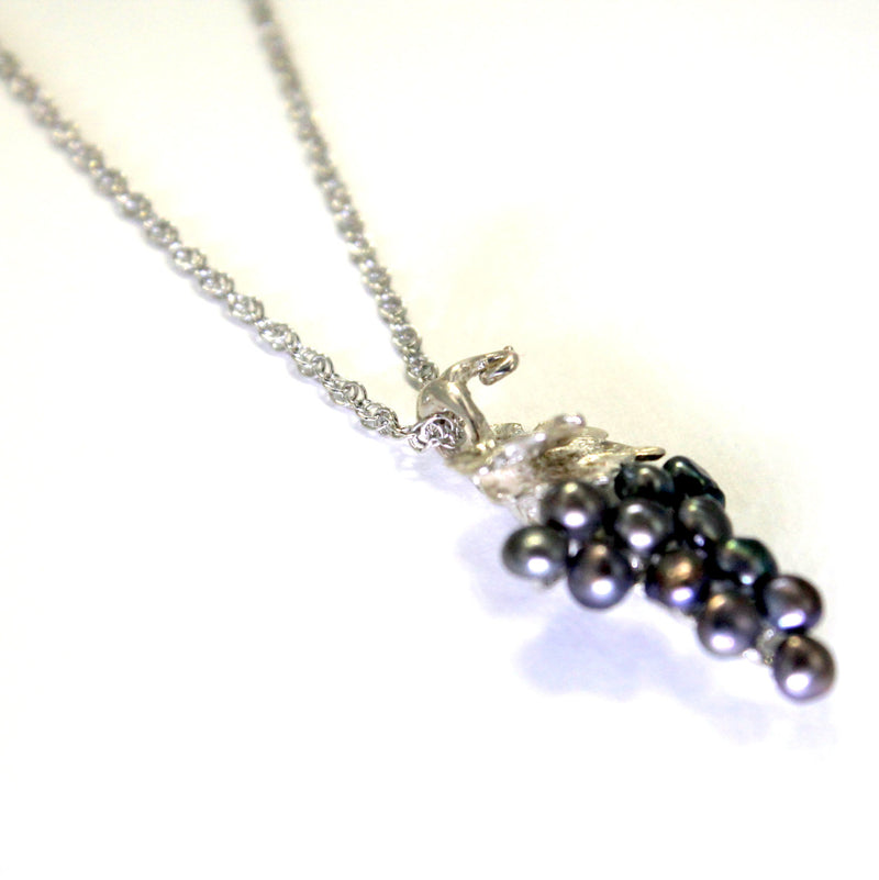 Small Two Leaf Sterling Silver Black Pearl Grape Cluster Necklace
