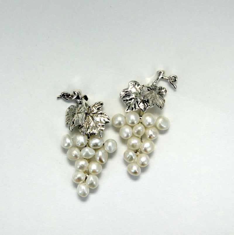 , Small Two Leaf Sterling Silver White Pearl Grape Cluster Earrings