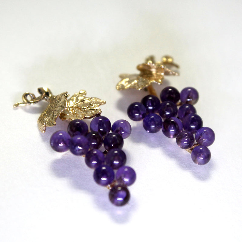 Small two leaf 14kt. Gold Amethyst Grape Cluster Earrings