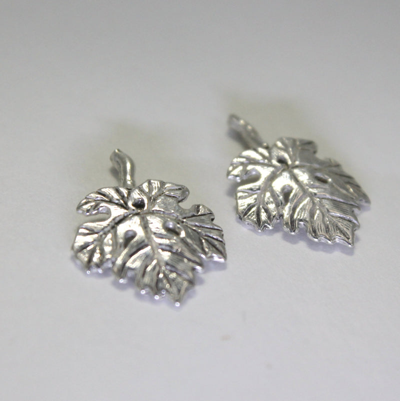 925 Sterling Silver Cabernet Grape Leaf Earrings