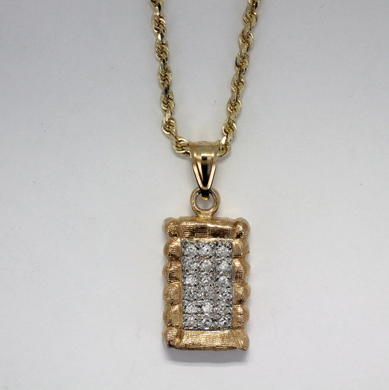 Mans Large Diamond Cotton Bale Necklace