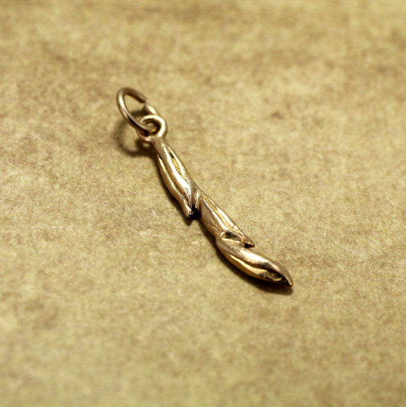 14kt solid gold Rice charm of three grains of rice