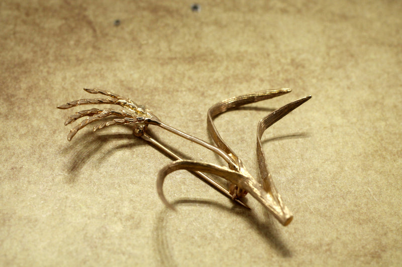 Gold Rice Brooch for her with Large Solid 14kt Gold Rice Stalk Brooch