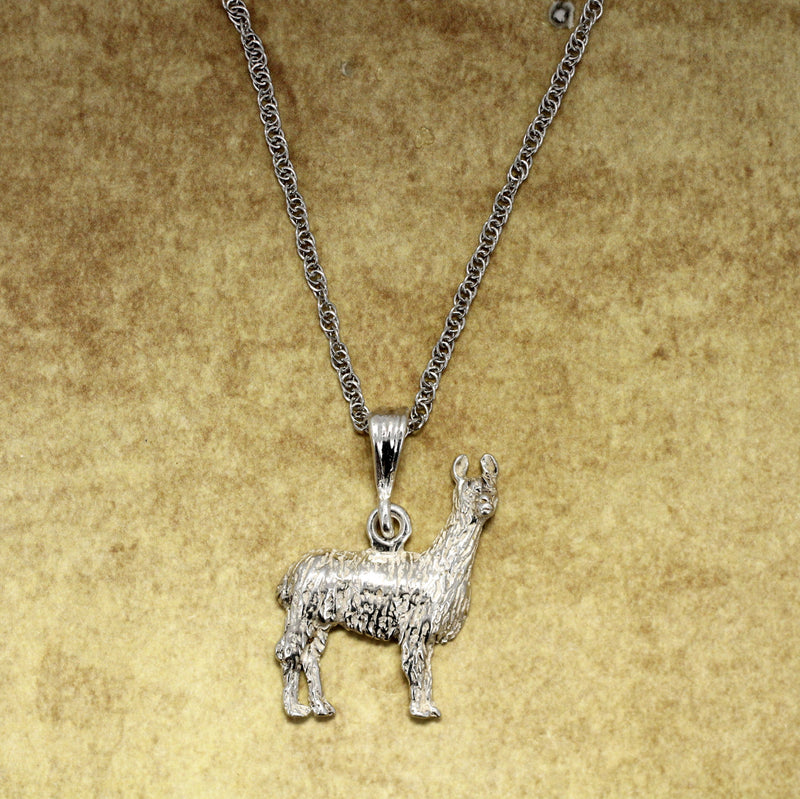 Large 925 Sterling Silver Llama Necklace