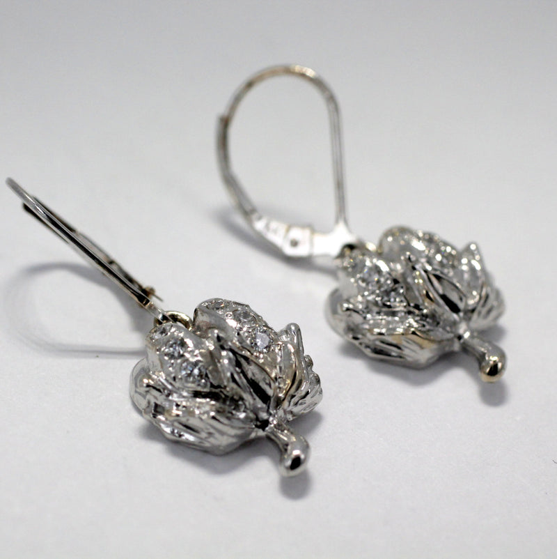 Diamond Cotton Boll 14kt White Gold Dangle Earrings by agrijewelry.com
