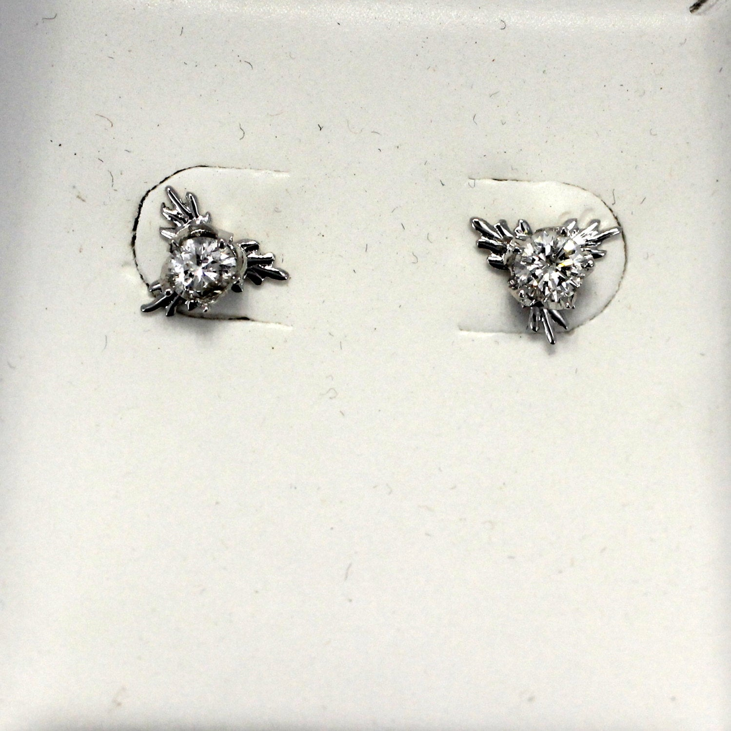 14kt. White Gold Cotton Boll Earrings