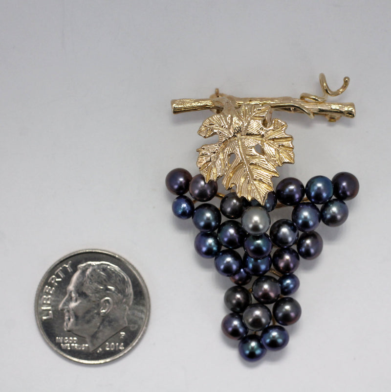 Grape Jewelry, Grape Cluster Brooch, One Leaf on Vine 14kt Gold Black Pearl Grape Cluster Brooch or pin, 45% Off
