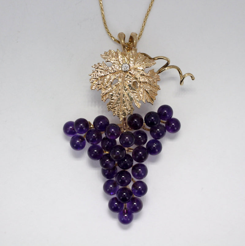 One Leaf 14kt Gold Dark Purple Amethyst Grape Cluster Necklace, 50% Off