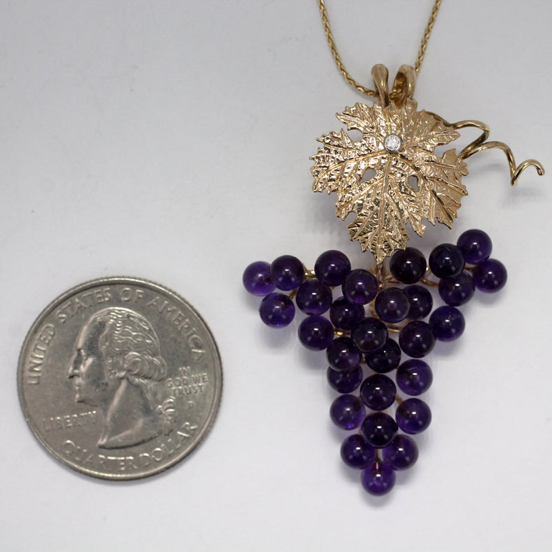 Grape Jewelry, Grape Cluster Necklace, One Leaf 14kt Gold Dark Purple Amethyst Grape Cluster Necklace, 50% Off