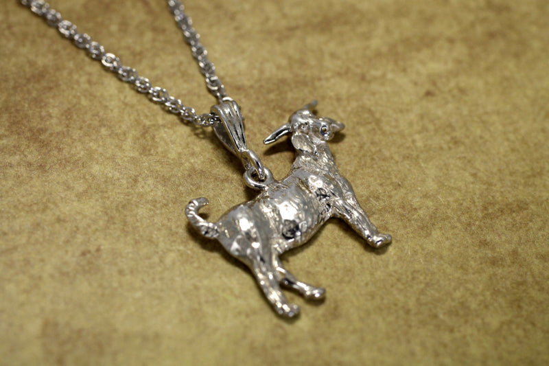 "Large Boer Goat Necklace on 18"" chain in Sterling Silver"