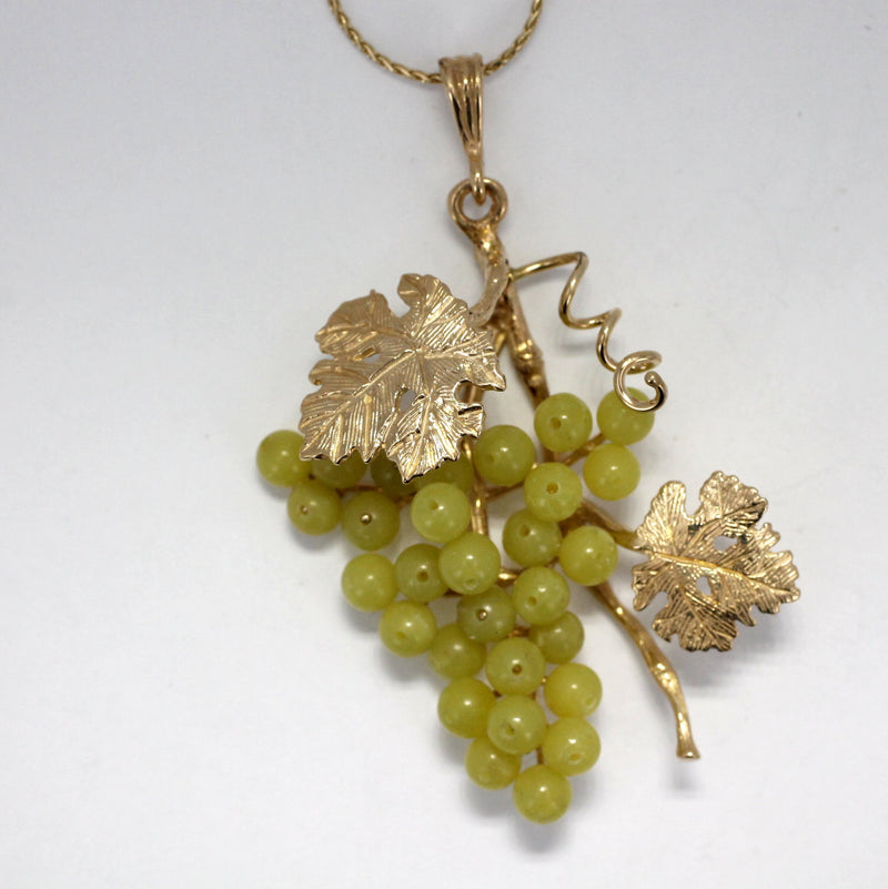 Large Two Leaf 14kt Gold Serpentine Jade Grape Cluster Necklace