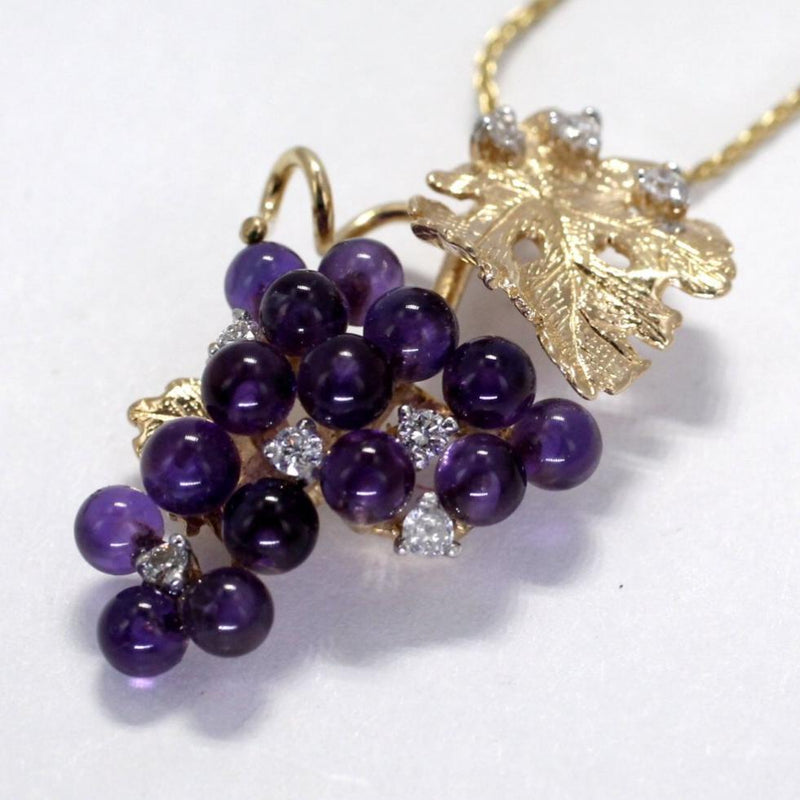 Gold Amethyst Grape Cluster Necklace with Diamonds