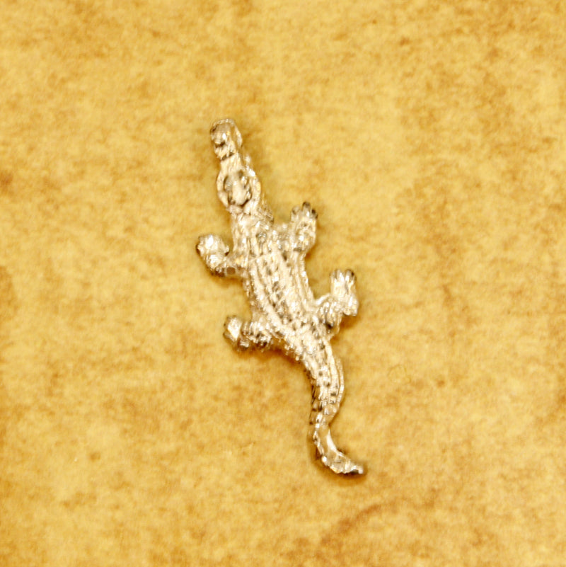 Small Alligator or Crocodile Brooch or Pin in 14kt Yellow Gold design by Agrijewelry.com