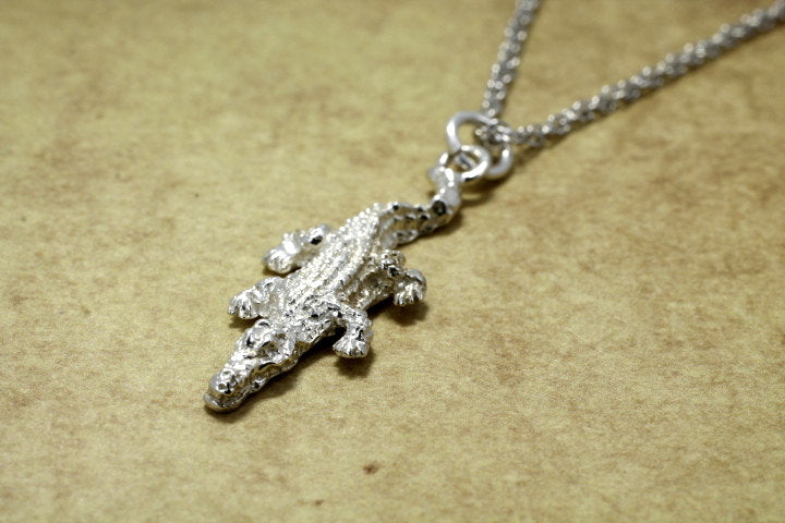 "Small Alligator Necklace in Sterling Silver on 18"" chain. Crocodile Necklace"