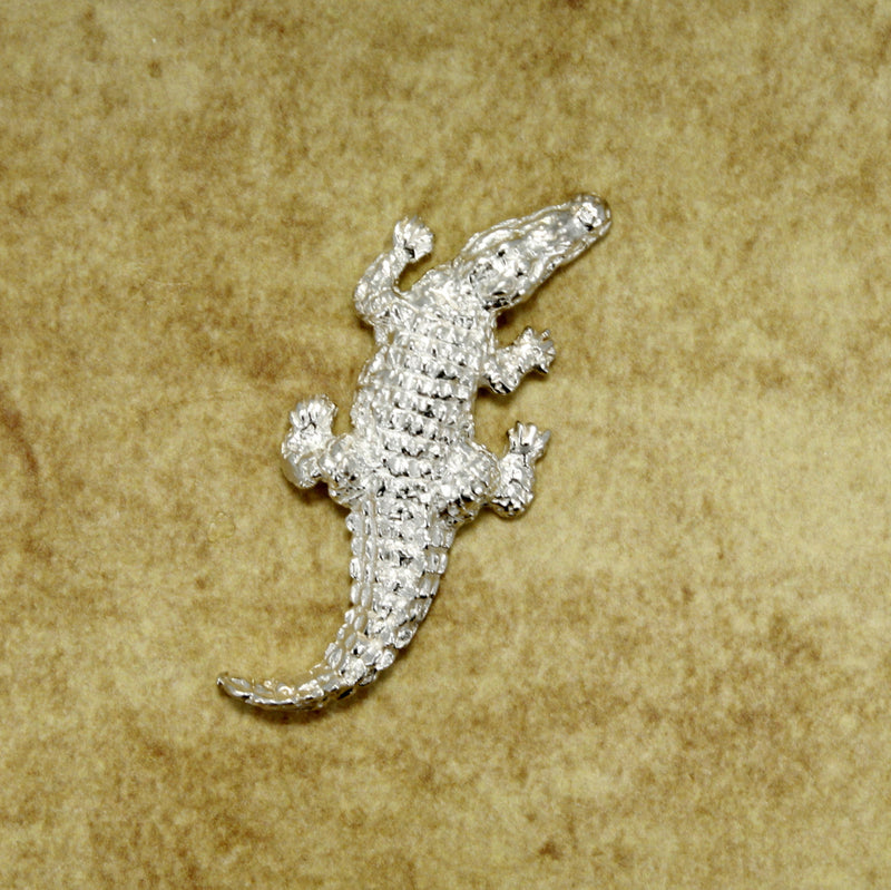 Large Alligator Brooch in Sterling Silver, Crocodile Brooch, Design by Agrijewelry