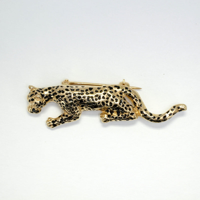 Leopard Brooch in 14kt Gold