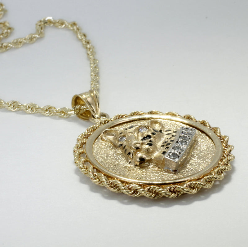 14kt Solid Gold Leopard Head necklace in a rope bezel with a diamond collar