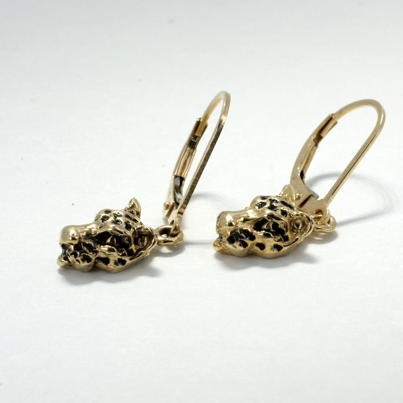 Small Jaguar Head Dangle Earrings in 14kt Gold