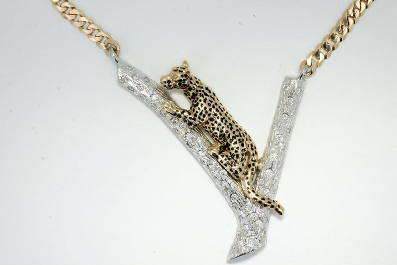 Large Leopard Necklace in 14kt Yellow Gold