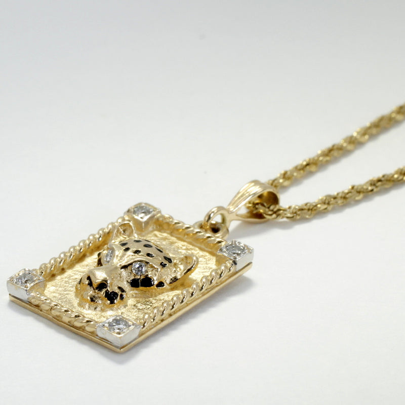 Leopard in Frame Necklace in 14kt Yellow  Gold