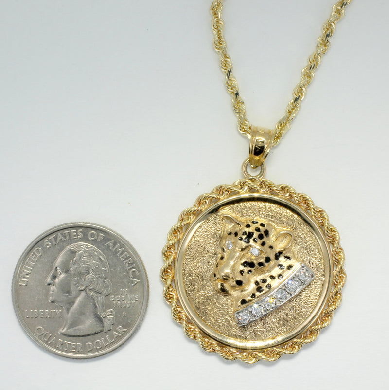 "Leopard Jewelry,  Leopard Head in Large Coin Medallion with rope Bezel  in 14kt Yellow  Gold on 18""  Rope chain."