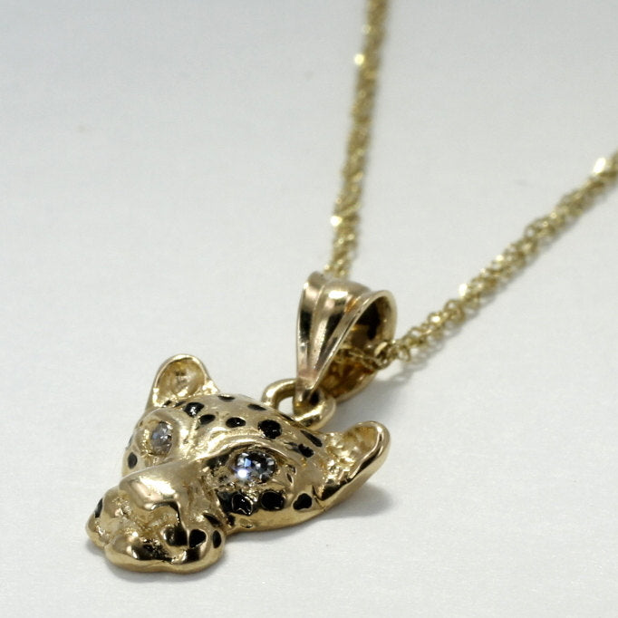 Medium Leopard Head Necklace in 14kt Yellow  Gold