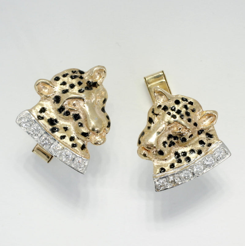 Mans Leopard Cuff Links in 14kt Yellow Gold with diamond collars